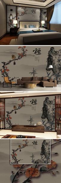 禅韵花鸟竹韵中国风新中式背景墙