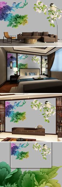 中国风花鸟中式背景墙