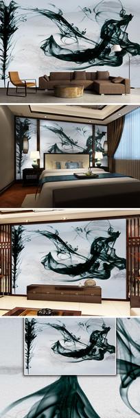 中国风水墨墨迹山水新中式电视背景墙
