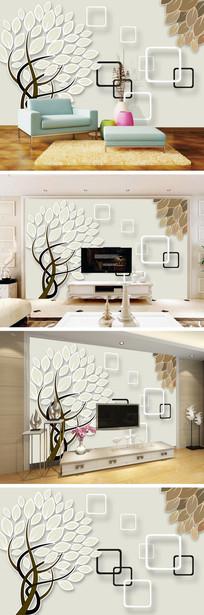 3D立体抽象树电视背景墙
