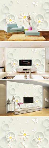 3D立体花卉蝴蝶电视背景墙