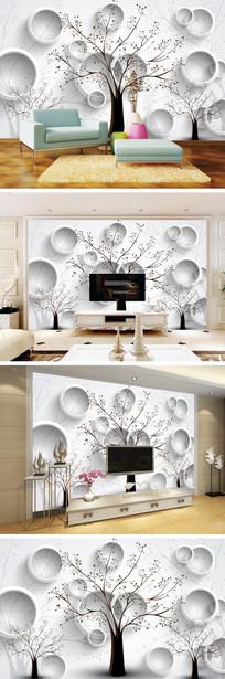 3D立体简约树林电视背景墙