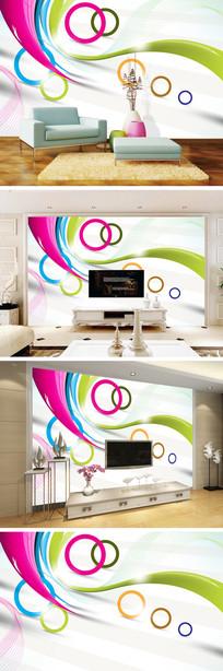 3D立体简约圆圈线条电视背景墙
