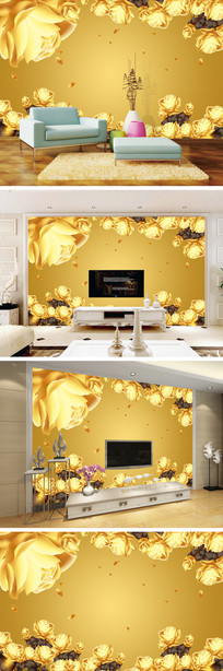 3D立体金色玫瑰电视背景墙