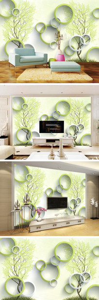 3D立体绿色树电视背景墙