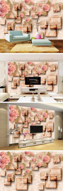3D立体玫瑰水珠电视背景墙