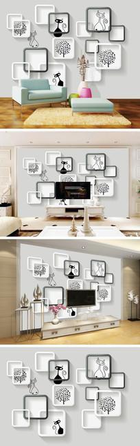 3D立体现代简约电视背景墙