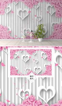 爱心玫瑰花时尚电视背景墙