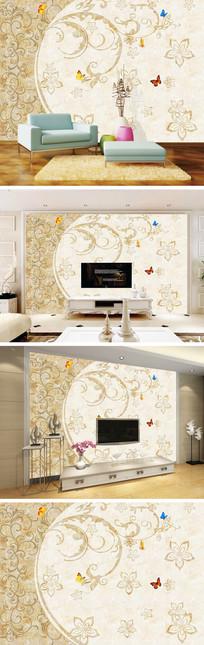 大理石纹手绘花纹电视背景墙