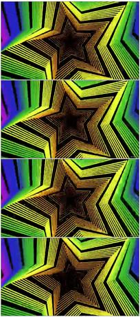 动感星星散发万花筒视觉冲击素材