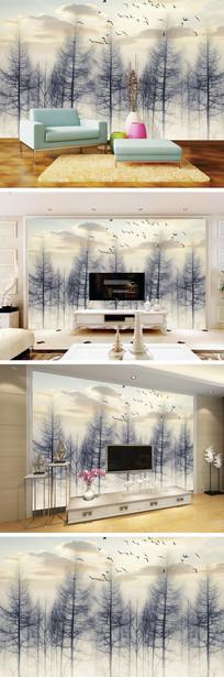 复古怀旧黑白树林电视背景墙