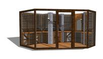 钢架木质酒柜储物室