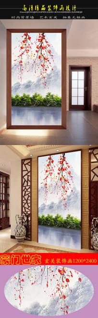 高清立体油画湖面桃花相映红玄关装饰画