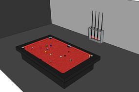 红色台球桌子
