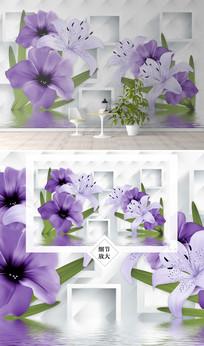 花卉倒影电视背景墙