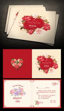 花卉婚礼邀请函设计模板