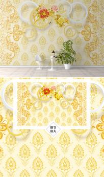 欧美金色花纹电视背景墙