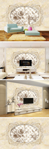 欧式大理石纹软包花纹电视背景墙