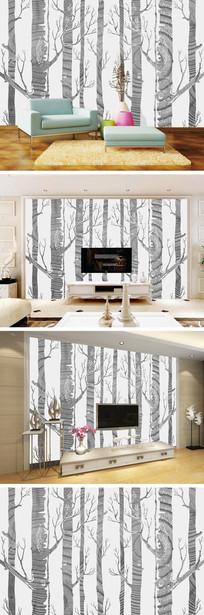 欧式黑白树林电视背景墙