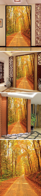 秋天金色树林黄金大道玄关背景墙