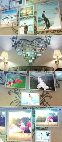 室内背景墙婚礼照片相册ae模板