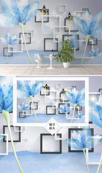 时尚花卉格子电视背景墙