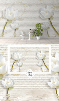 时尚简约花卉花朵电视背景墙