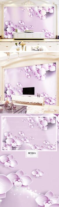 时尚立体花卉电视背景墙