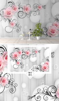 时尚欧美玫瑰花电视背景墙
