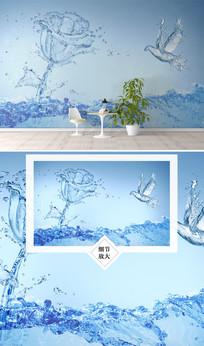 水创意玫瑰花电视背景墙