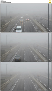 雾霾天高速公路开车实拍视频素材