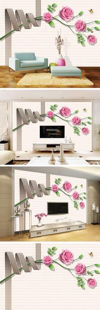现代简约彩带玫瑰电视背景墙