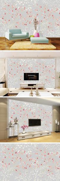 现代简约手绘花卉电视背景墙  JPG