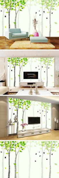 现代简约树林电视背景墙