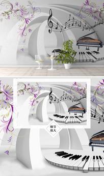 音乐符号钢琴键盘电视背景墙