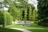 圆形水池涌泉景观节点