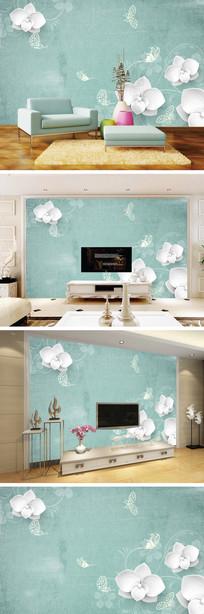 玉雕白色花朵电视背景墙