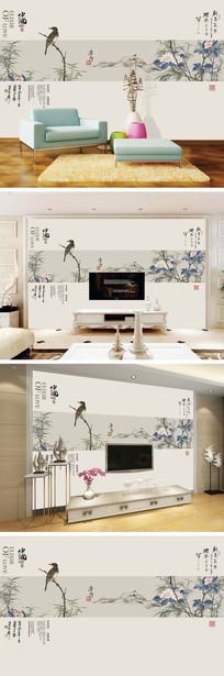中国特色花鸟电视背景墙