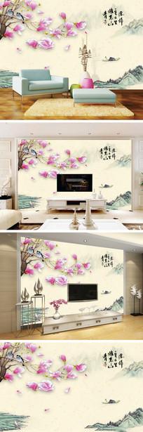 中式山水手绘玉兰花花鸟电视背景墙