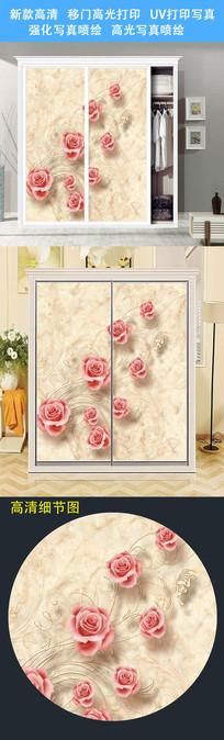 大气时尚立体珠宝衣柜移门图片背景衣柜门UV打印图案