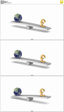 地球欧元经济杠杆平衡动态视频素材