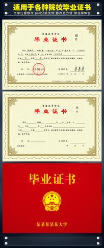 高等普通学校毕业证书PSD模板