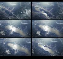 航拍水位上涨动画视频