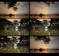 航拍夕阳水面视频