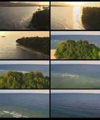 航拍夕阳下的海洋视频