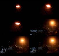 黑夜中的路灯视频
