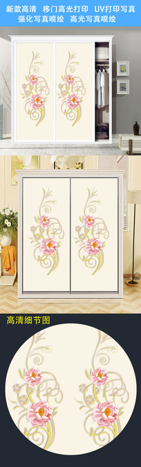 花卉移门背景衣柜门UV打印