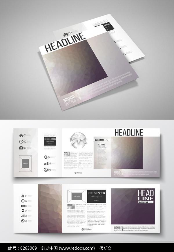 简约风格公司简介正方形三折页设计通用模板