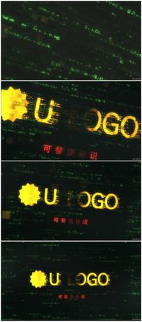 科技感文字logo标志展示ae模板