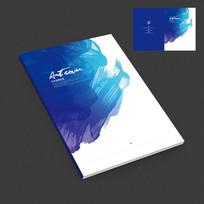 蓝色抽象水墨作品集封面设计